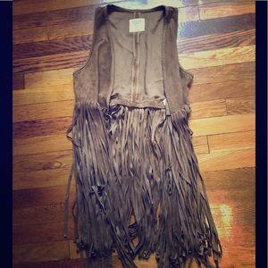Tan Suede fringed Abercrombie and Fitch vest